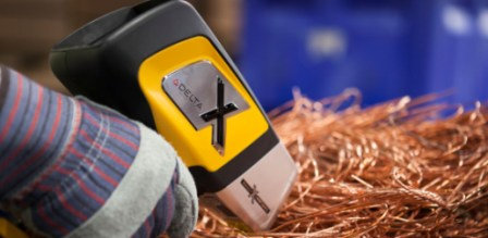 Olympus Innov-X DELTA handheld XRF alloy analyzer testing scrap copper wire.