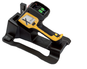 Delta Handheld Analyzer on charging dock.